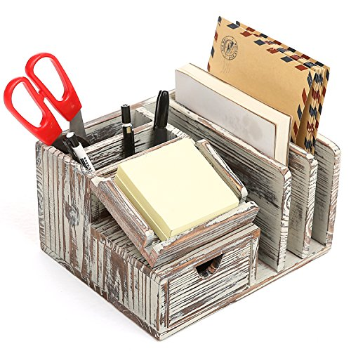 MyGift Torched Wood Desktop Office Organizer w/ Sticky Note Pad Holder, Mail Sorter & Pullout Drawer by MyGift