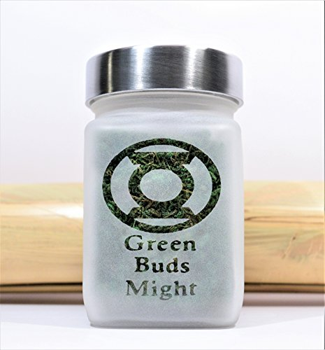 Logo Etched Collectible Glass - Green Lantern Inspired Green Buds Might Etched Glass Stash Jar