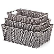 EZOWare Set of 3 Resin Woven Storage Tote, Plastic Wicker Shelf Organizer Basket Bins with Handle for Kitchen, Living Room, Office, Bathroom, Bedroom - Gray