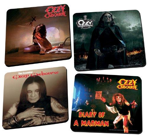 (Vandor 87185 Ozzy Osbourne 4-Piece Wood Coaster Set, Multicolored)