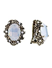 BriLove Women's Victorian Style Crystal Floral Cameo Inspired Oval Clip-On Stud Earrings
