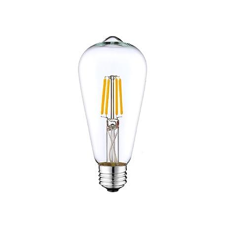 DC 12 V luz blanca cálida 3000 K 6 W LED filamento ST64 bombilla E26 E27
