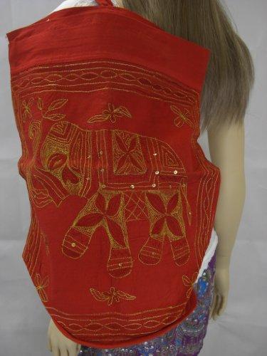 Goethnic Haversack-Zaino con mano in metallo dorato ricamato, motivo: elefante, colore: rosso