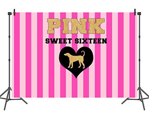 Sensfun 7X5ft Golden Pink Striped Photography Backdrop Customized