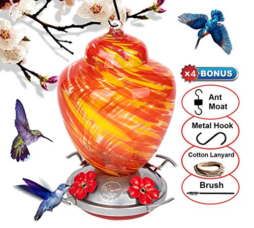 REZIPO Hummingbird Feeder with Perch - Hand Blown Glass - Red - 26 Fluid Ounces Hummingbird Nectar Capacity Include Hanging Wires and Moat Hook (Orange)