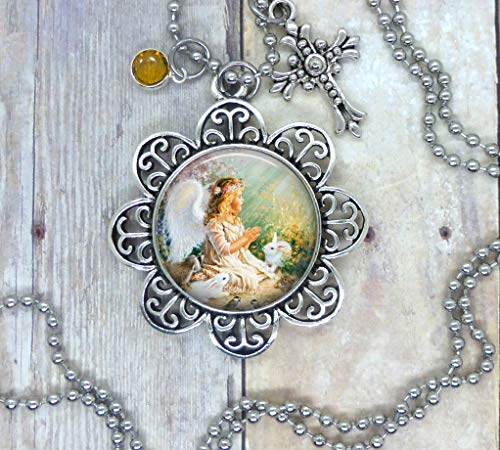Angels and Bunnies, Photo Image in a Nice Setting, Adorned with a Pretty Cross & Golden Yellow Swarovski Crystal. Your Choice, Necklace, Packpack Clip, Keychain, or Purse Clip. Packaged in a Gift Bag.