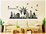 Oren Empower Glow in The Dark - Statue of Liberty PVC Vinyl Large Wall Sticker (Finished Size on Wall - 130(w) x 65(h) cm)