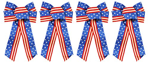 Set of 4 Black Duck Brand Burlap Patriotic Wired Ribbon Bows (burlap)