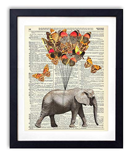 Elephant With Butterflies (#1) Upcycled Vintage Dictionary Art Print 8x10 (Kid From Home Alone Then And Now)