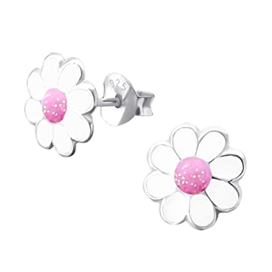 Laimons Kids Childrens Earrings Jewellery Flower Daisies Pink White Glitter 925 Sterling
