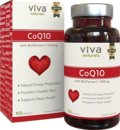 Viva Naturals CoQ10 100mg, 150 Softgels - Enhanced with BioPerine® for Increased ()
