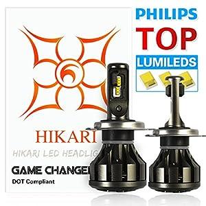HIKARI Ultra LED Headlight Bulbs Conversion Kit -H4 (9003),Philips Lumileds 12000lm 6K Cool White,2 Yr Warranty