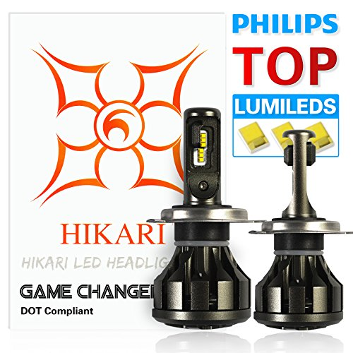 HIKARI Ultra LED Headlight Bulbs Conversion Kit -H4 (9003),Philips Lumileds 12000lm 6K Cool White,2 Yr Warranty