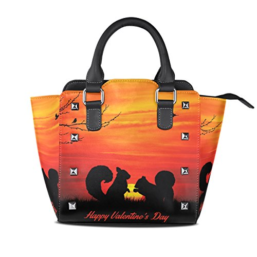Valentine's Leather Handbags Handle Day Women's TIZORAX Sunset Love Squirrel Top At PU Bags Shoulder dwzqxxgYS