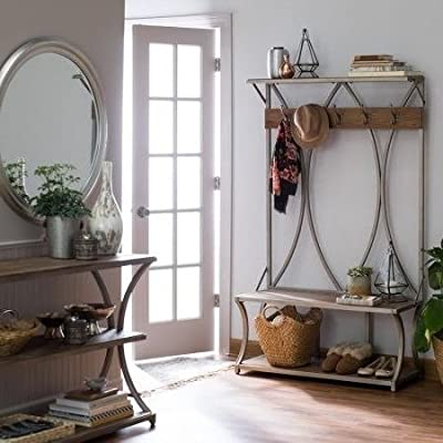 By Home Design Entryway Bench Coat Rack-Driftwood Wood Gray Metal Frame Hall Trees Bench Coat Racks -  - hall-trees, entryway-furniture-decor, entryway-laundry-room - 51GN5r6YeGL. SS400  -