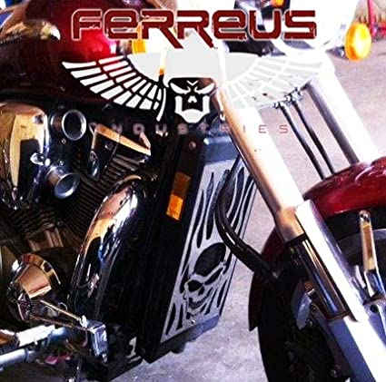 Skull Flame Polished Stainless Radiator Grill Guard fits Ferreus Industries GRL-107-09 2002-2009 Honda VTX1800