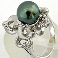 925 Silver Ring Green Pearl Octopus Women Men Wedding Engagement Size 6-10 (6)