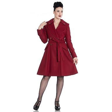 Hell Bunny Vintage Mantel - Olga Coat Dunkelrot  Amazon.de  Bekleidung 6cbfd8dcc4