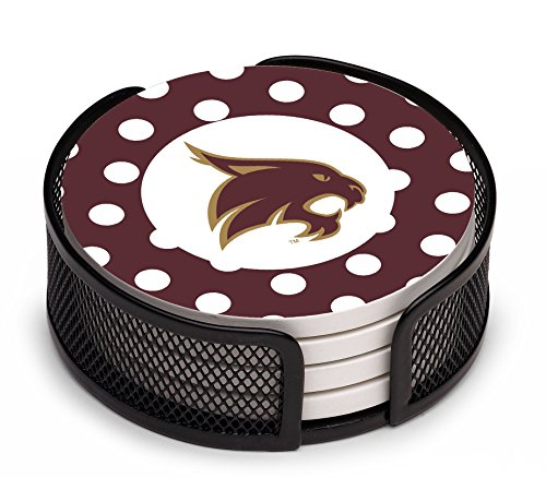 Thirstystone VTXST2-HA17 Stoneware Drink Coaster Set with Holder, Texas State San Marcos - Marcos Texas San