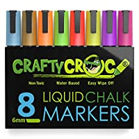 Crafty Croc Liquid Chalk Markers, 8 Pack Bright Neon Colored Paint Pens with Reversible Nib on Each Pen