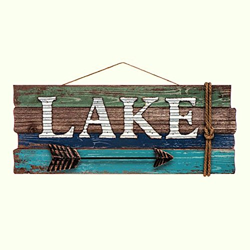 Darice Wood Wall Sign w/Iron Cut Out Lake & Arrow, - Out Arrow Cut