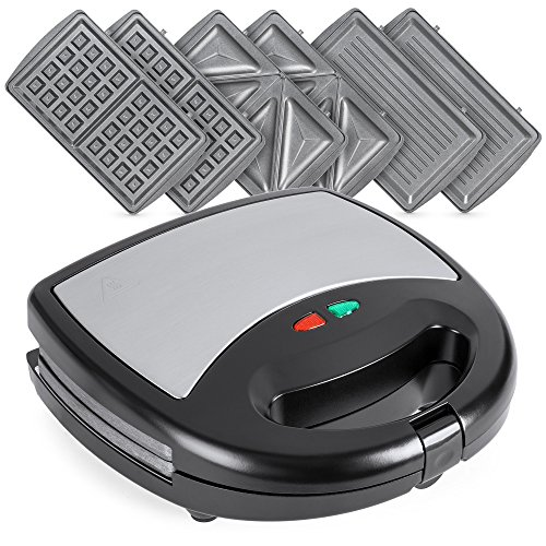 Best Choice Products 3-in-1 750W Dishwasher Safe Non-Stick Stainless Steel Sandwich Waffle Panini Maker Press