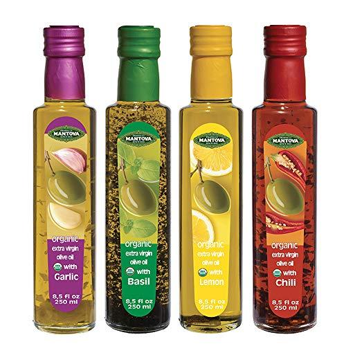 Mantova Flavored Extra Virgin Olive Oil Variety Pack: Garlic, Basil, Chili, Lemon Organic Extra Virgin Olive Oil, 8.5-Ounce Per Bottle (Pack of 4) Great Gift Item