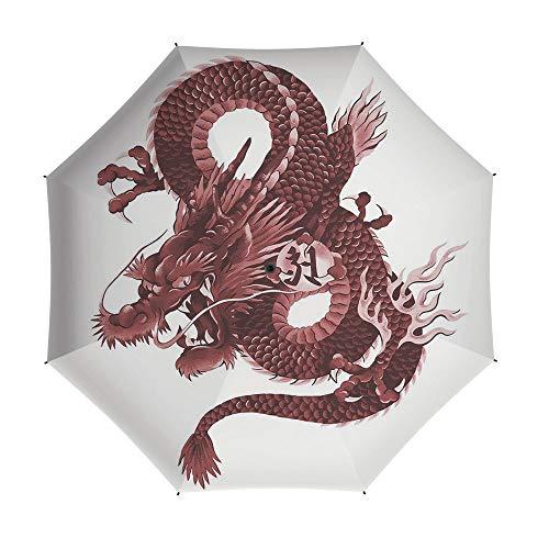 Travel Umbrella,Dragon,8 Ribs Finest Windproof Umbrella with Teflon Coating, Auto Open Close and Upgraded Comfort Handle 42 Inch,Japanese Dragon Figure Tatsu Deity Symbol Sacred Folk Noble Monster Th]()