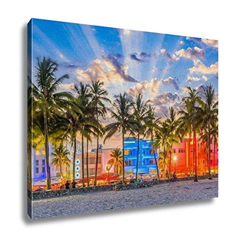 Ashley Canvas, Miami Beach Florida USA Cityscape On Ocean Drive, Wall Art Home Decor, Ready to Hang, 16x20, - Place Palm Beach City Fl