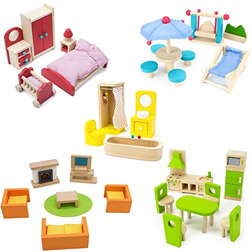 Pidoko Kids Wooden Dollhouse Furniture Set (42 Pcs) - 5 Rooms Fully Furnished Bundle