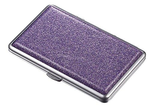 Visol Glamour II Glittering Double-Sided Cigarette Case, Purple
