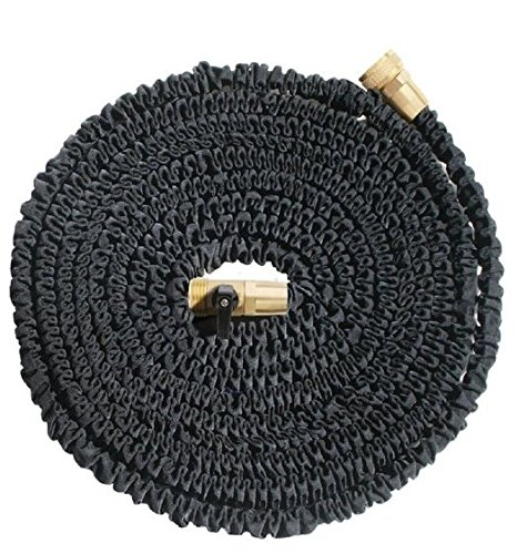 SoLed 75ft Heavy Duty Expandable Hose (Black), Upgraded Brass Fittings and Shut-off Valve, Toughest, Flexible, Expanding Garden and Utility Hose (75 foot) - Extra Washers Included (Valve Insulation compare prices)