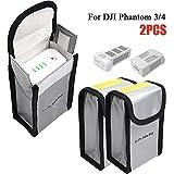 lipo protection bag - RC Lipo Battery Safe Bag for Charging and Storage, Fireproof Explosionproof Lipo Guard Protection Pouch Sack for DJI Mavic Pro Phantom 3 Phantom 4, Silver (150x90x55mm, 2pcs)