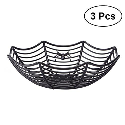 LUOEM 3pcs Spider Web Fruits Basket Spooky Cute Plastic Spider Web Fruits Candy Basket Bowl Spiderweb Basket Halloween Party Decor (Black)