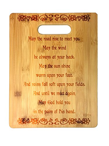 Irish Blessing Prayer May the Road Rise Up Celtic Knot Laser Engraved Bamboo Cutting Board - Wedding, Housewarming, Anniversary, Birthday, St. Patrick