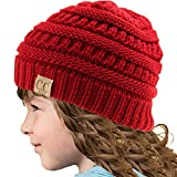Kids CC Ages 2-7 Warm Chunky Thick Stretchy Knit Slouch Beanie Skull Hat Red