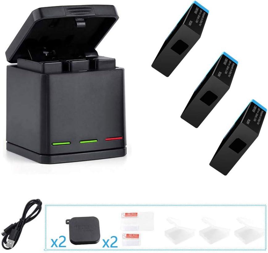 TELESIN Cargador de batería para Gopro, Base de Carga Triple con 3 baterías de reemplazo, Caja de Carga múltiple Tipo-C Organizador de Almacenamiento de batería para GoPro Hero 8/7/6/5 Black,Hero 2018: Amazon.es: