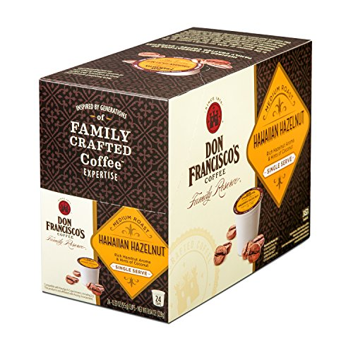 (Don Francisco's Single Serve Coffee Pods, Hawaiian Hazelnut Flavored, Compatible with Keurig K-cup Brewers, 24 Count)