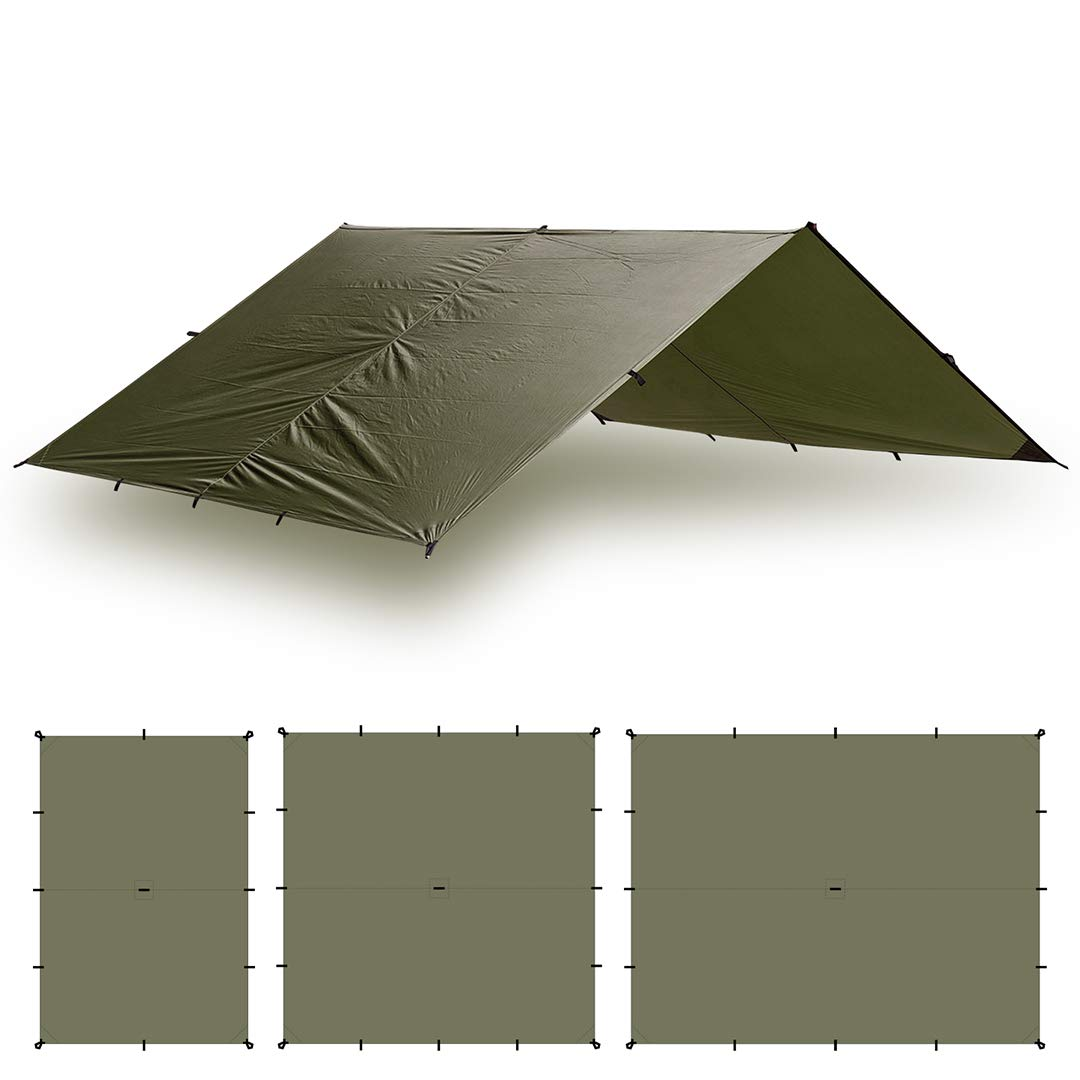 Aqua Quest Guide Tarp - 100% Waterproof Ultralight Ripstop SilNylon Backpacking Rain Fly - 10x7 Olive Drab by Aqua Quest