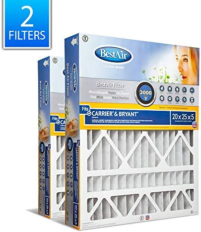 BestAir CB2025-13R AC Furnace Air Filter 20 x 25 x 5 MERV 13 Removes Allergens & Contaminants Fits 100% For Carrier/Bryant Models Pack of 2