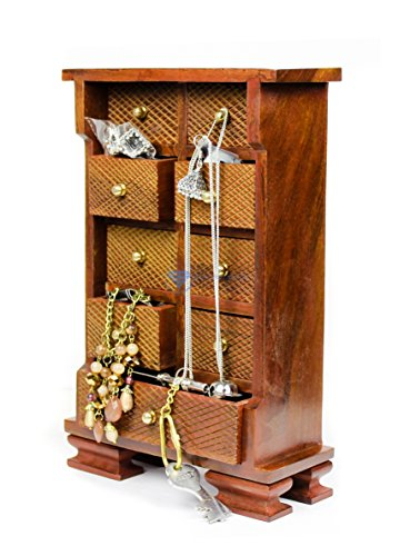 Nagina International Wooden Crafted Multi Drawer Almirah | Premium Wood Craft Decor Gifts | Functional Tiny Cupboard ()