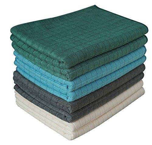 Gryeer Assorted Color Microfiber Dish Towels - 8 Pack (2 Gray, 2 Blue, 2 Green, 2 Beige) - Soft, Super Absorbent and Lint Free Kitchen Towels, 26 x 18 Inch