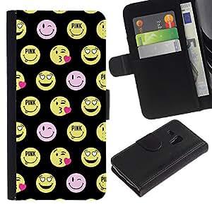 Be Good Phone Accessory // Caso del tirón Billetera de Cuero Titular de la tarjeta Carcasa Funda de Protección para Samsung Galaxy S3 MINI NOT REGULAR! I8190 I8190N // happy smiley face funny emoticon