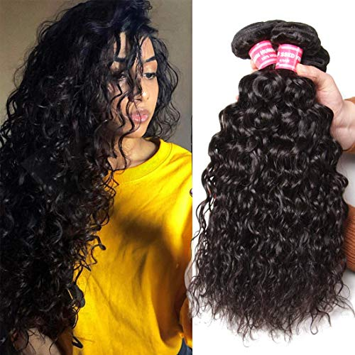 Nadula 8A Brazilian Virgin Hair Water Wave 3 Bundles Wet and Wavy 100% Unprocessed Virgin Human Hair Extensions Natural Color (12 14 16 Inch)