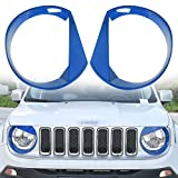 RT-TCZ Front Light Cover Angry Bird Headlight Bezels Cover ABS Trim For 2015 2016 2017 Jeep Renegade-2PCS (Blue)