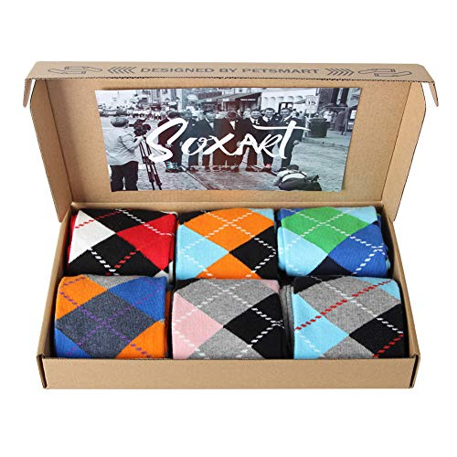 SOXART Men's Dress Socks 6-Pack Argyle Multi Color Fun Style for L:US Shoe Size 8-12 / Sock Size 10-13