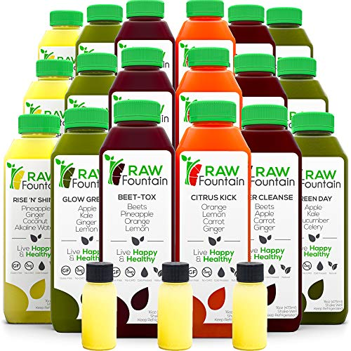 7 Day Juice Cleanse by Raw Fountain, All Natural Raw, Cold Pressed Fruit and Vegetable Juice, Detox Cleanse, 42 Bottle 16oz, 7 Ginger Shots