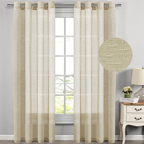 H.Versailtex Natural Effect Semi Sheer Extra Long Curtains Made of Linen and Poly Mixed,Nickel Grommet Window Panel Drapes (Set of 2, 52 by 108 Inch,Beige)
