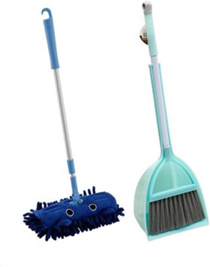Xifan Mini Housekeeping Cleaning Tools for Children,3pcs Include Mop,Broom,Dustpan (Blue Mop+Frash Blue Broom&Dustpan)