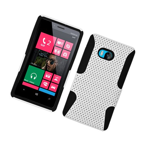LF Hybrid Case Black Tpu White Net, Lf Stylus Pen and Screen Wiper Bundle Accessory for T-Mobil Nokia Lumia 810